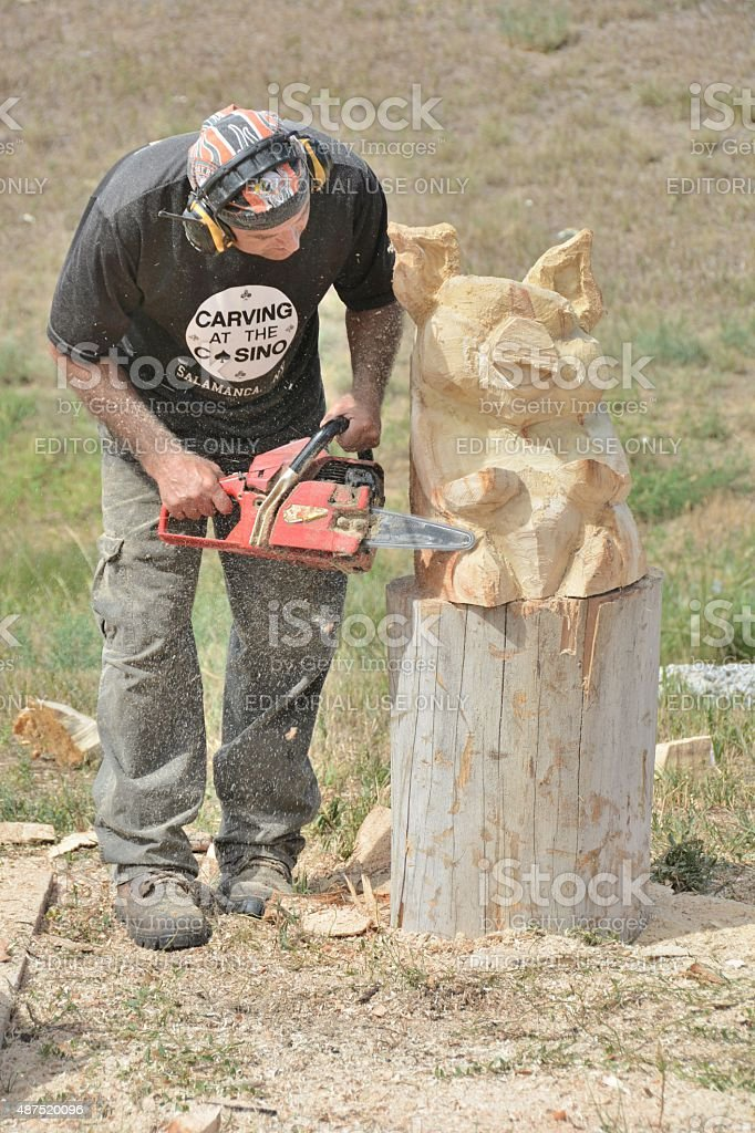 Chainsaw Carving stock photo