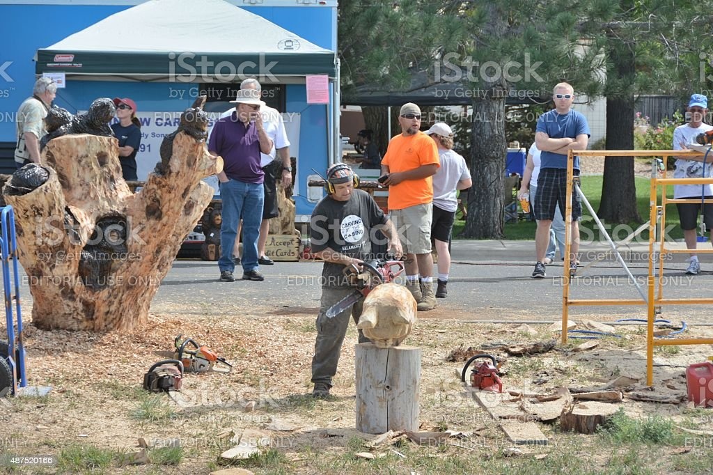 Chainsaw Competitor stock photo