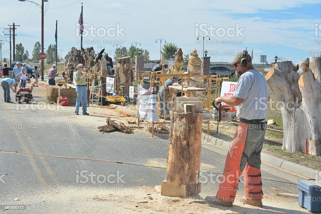 Chainsaw Competitors stock photo