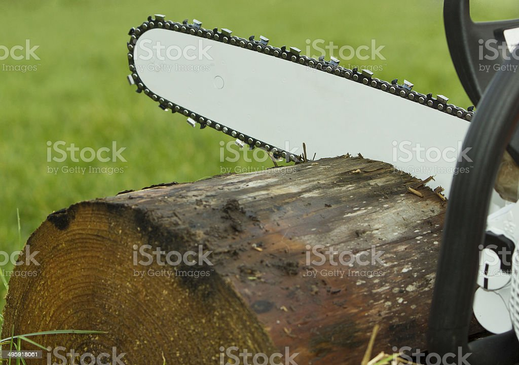 Chainsaw Cutting Timber Log stock photo