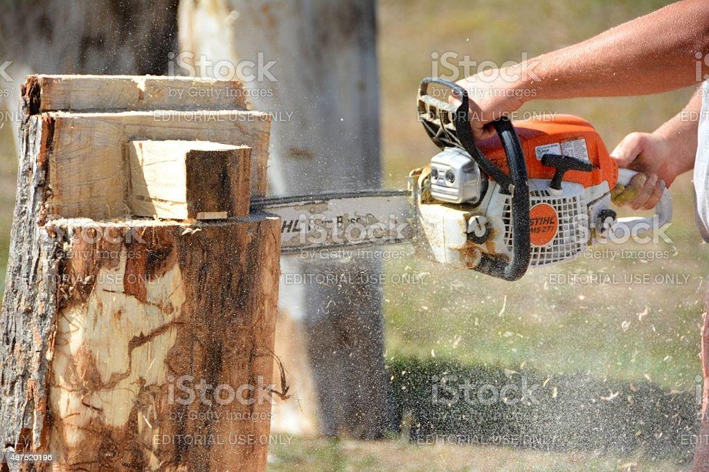 Chainsaw Cutting Wood stock photo