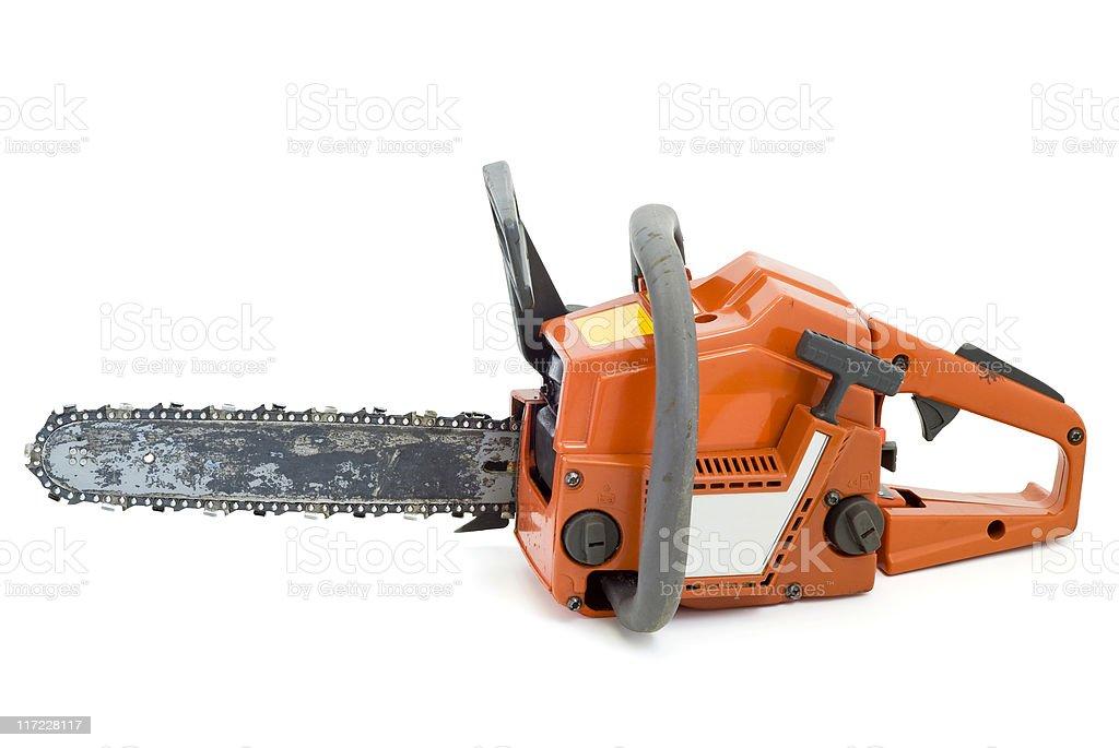 Chainsaw on white stock photo