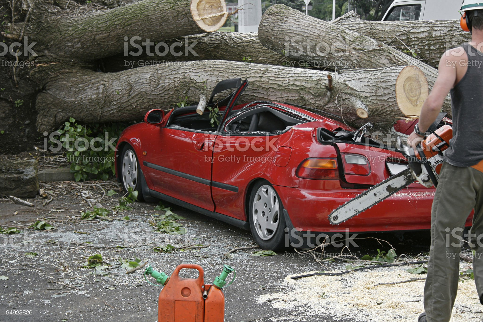 Chainsaw rescue royalty-free stock photo