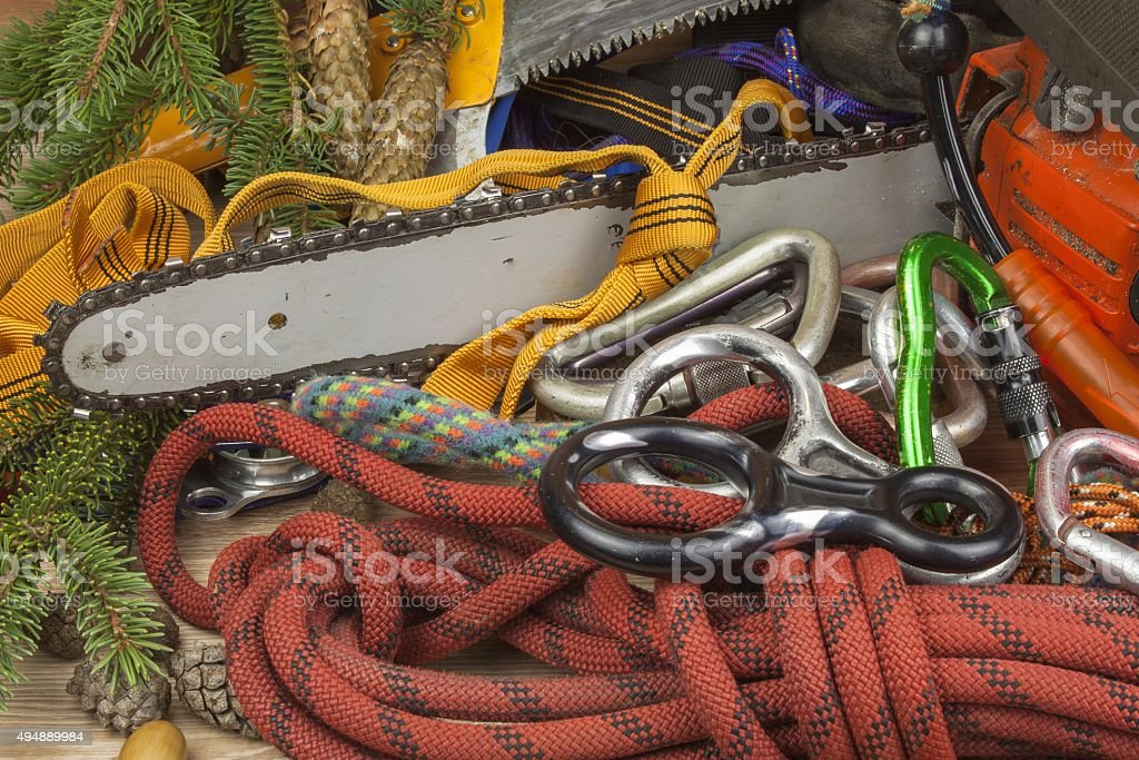 Chainsaw, rope and carabiners to work lumberjack stock photo
