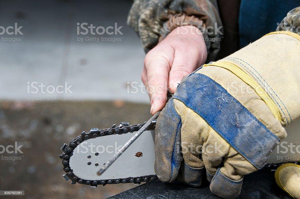 chainsaw sharpening stock photo