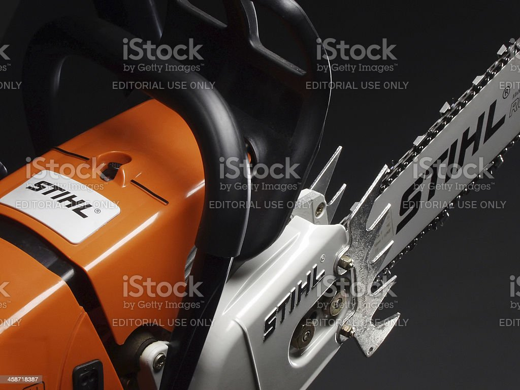 Chainsaw side view stock photo