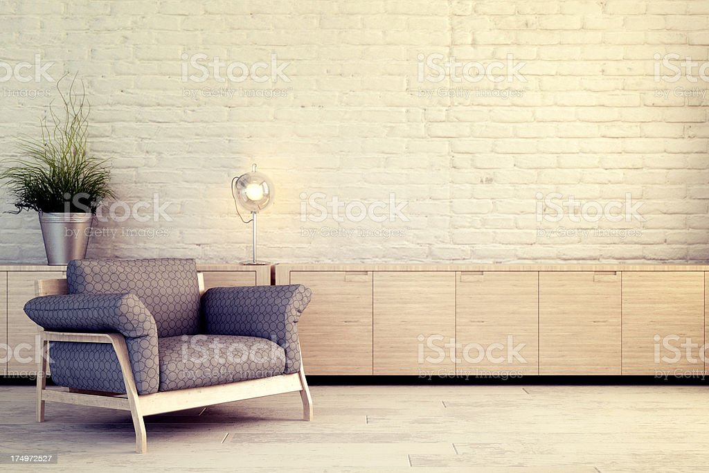 Chair against white wall stock photo