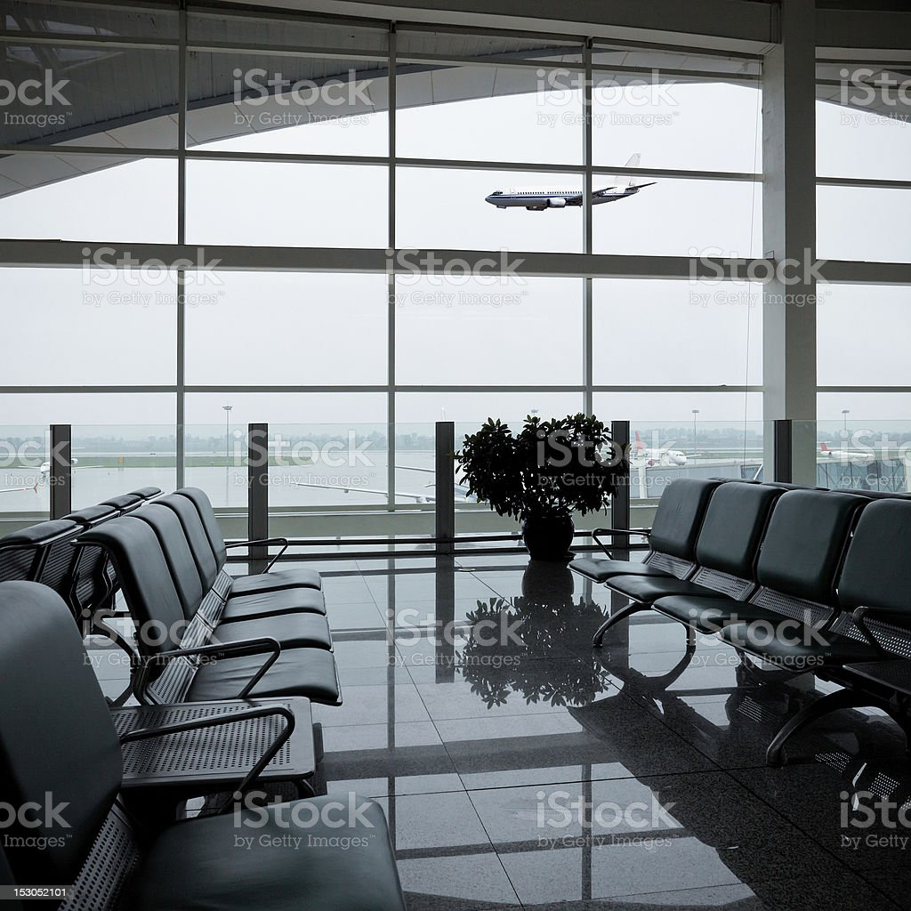 chair and airport stock photo