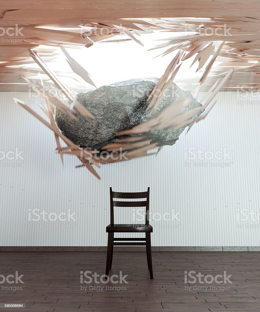 chair and falling stone conceptual 3d illustration stock photo