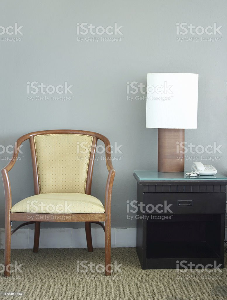 chair and table lamp in the room royalty-free stock photo