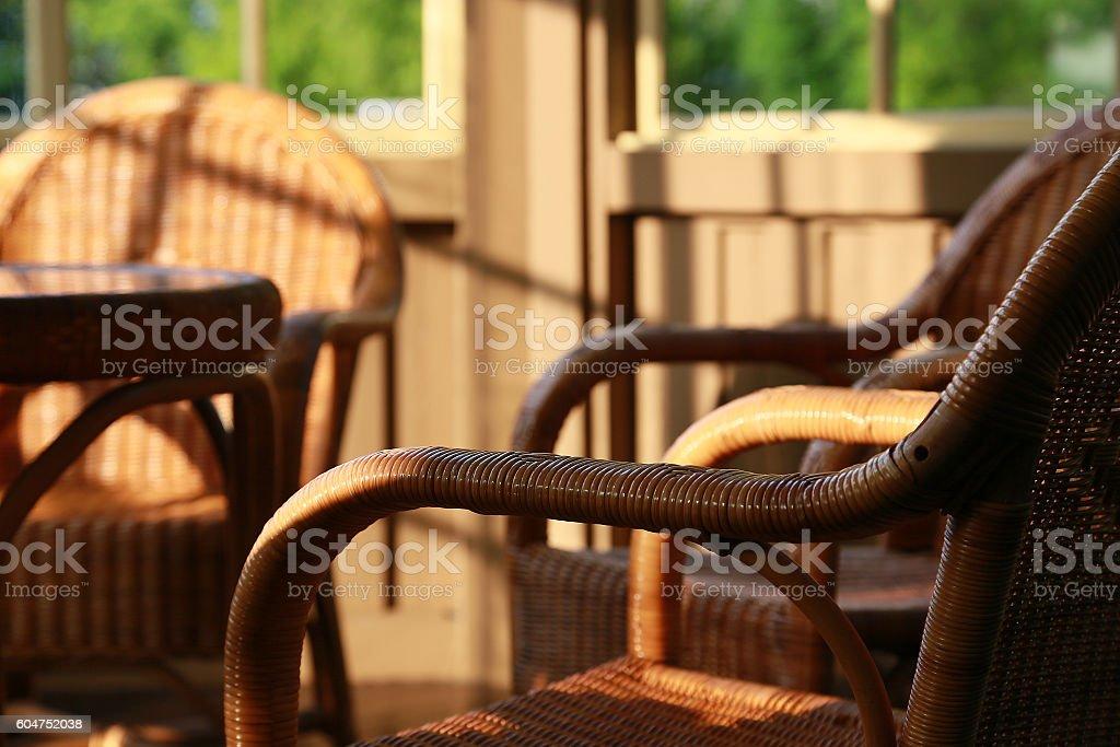 chair and table of the rattan foto de stock libre de derechos