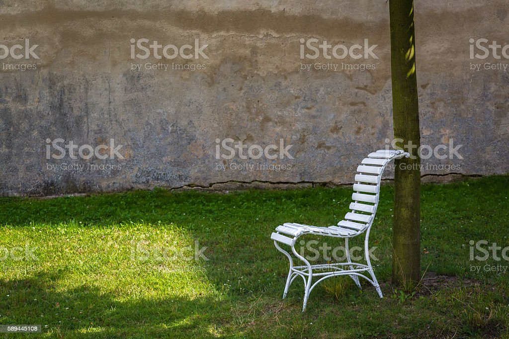 Chair at farm yard the chateau Milotice stock photo