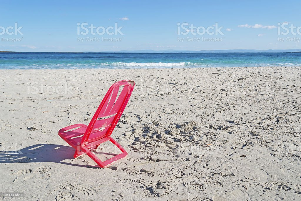 chair at the beach stock photo