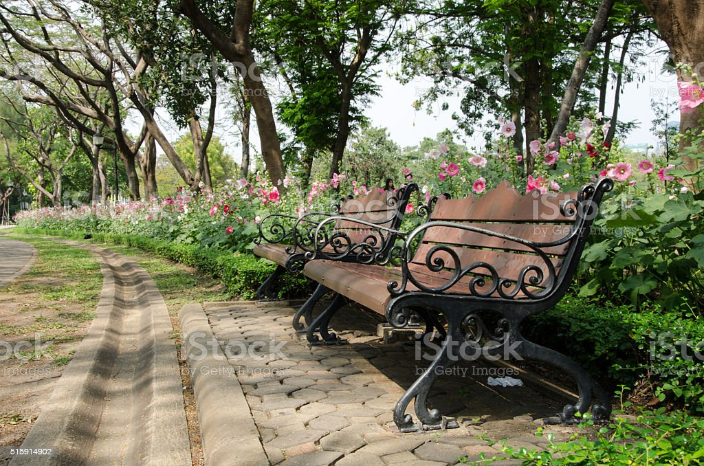 chair in formal garden with flower background stock photo