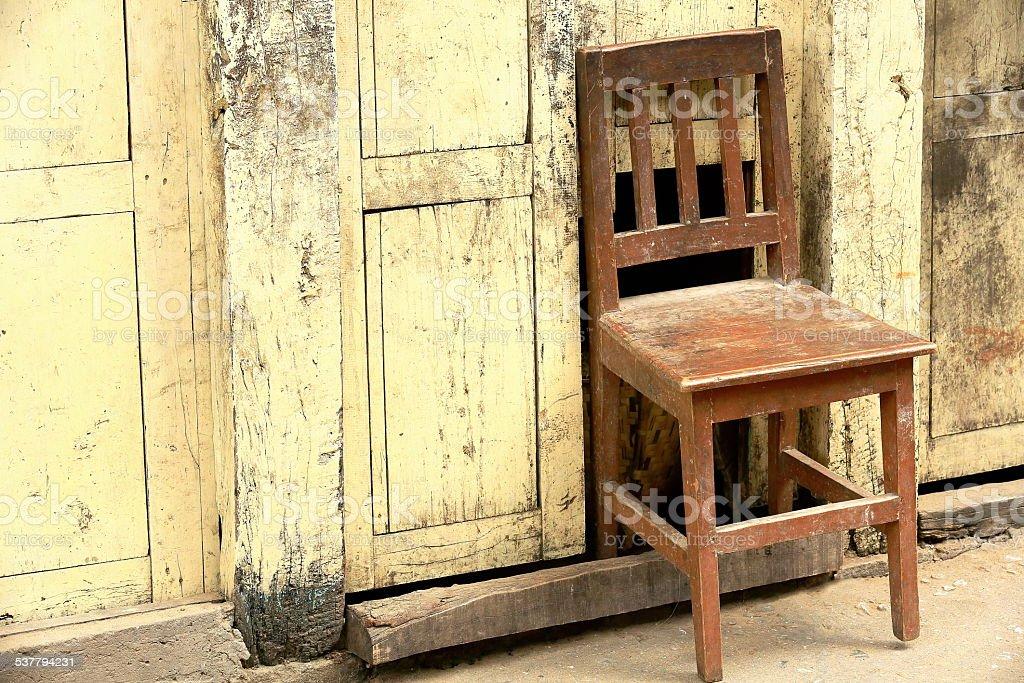 Chair in wall. Thrangu Tashi Yangtse monastery. Namo Buddha-Nepal. 1017 stock photo