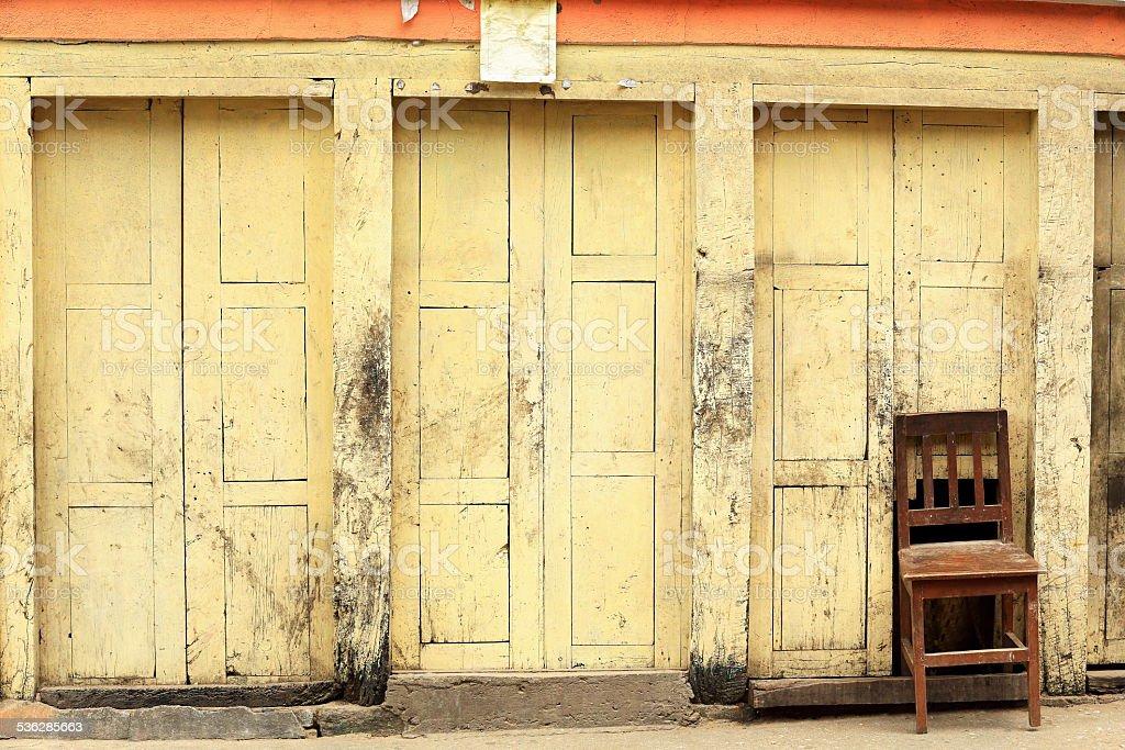 Chair in wall. Thrangu Tashi Yangtse monastery. Namo Buddha-Nepal. 1019 stock photo
