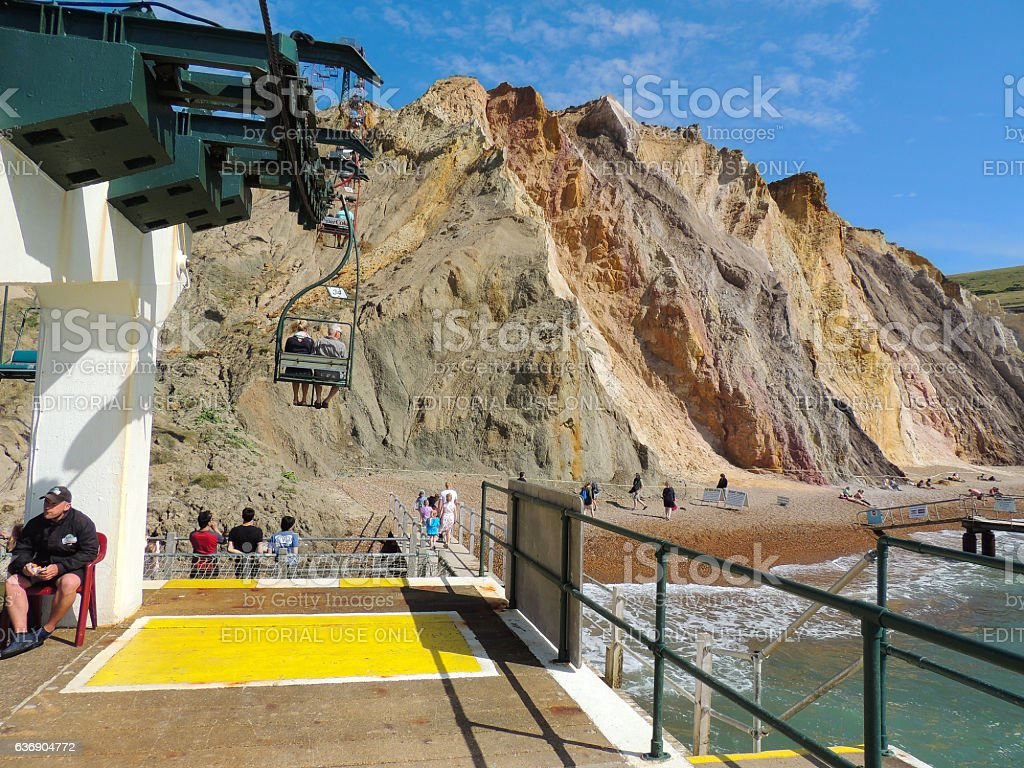Chair Lift and Coloured Sands at Alum Bay stock photo