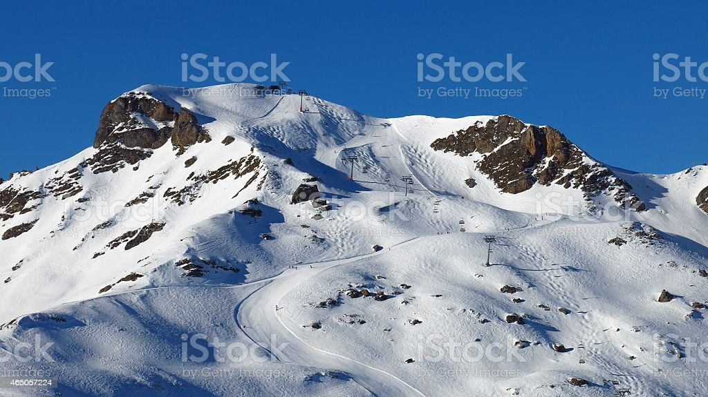 Chair lift and ski slopes, Flumserberg stock photo