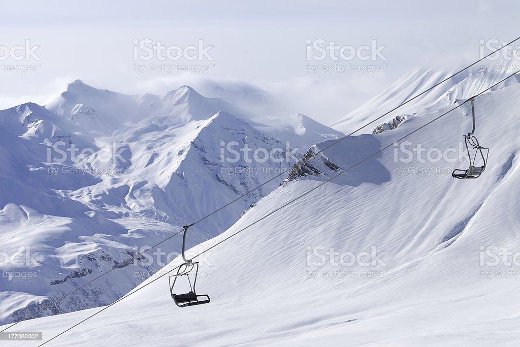 Chair lift at ski resort royalty-free stock photo