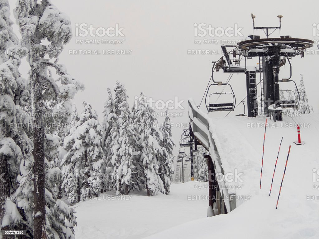 Chair Lift at Timberline Ski Resort Snow Mount Hood Oregon stock photo