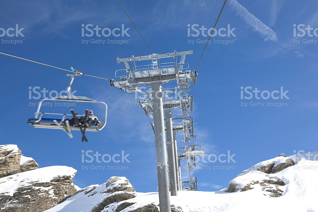 Chair lift in a ski resort stock photo