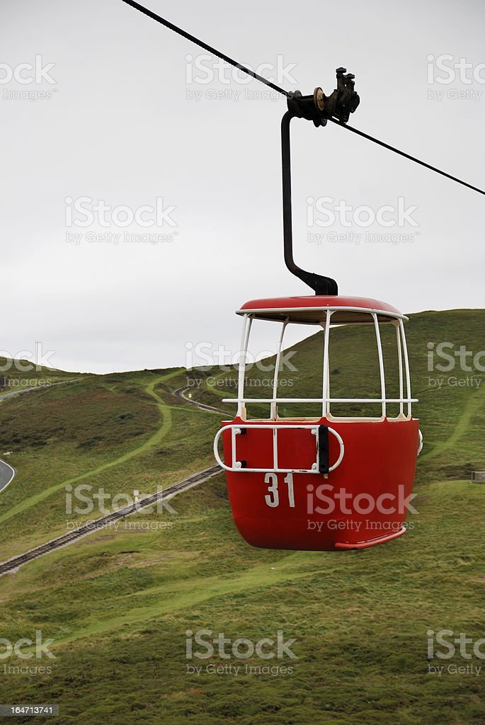 Chair lift in Llandudno countryside, Wales. stock photo