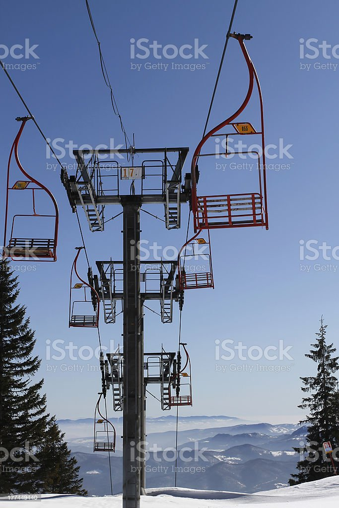 Chair lift in Snowy Winter royalty-free stock photo