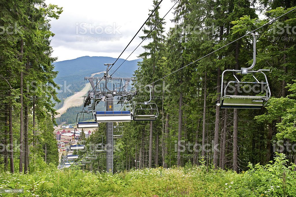 chair lift in the mountains royalty-free stock photo