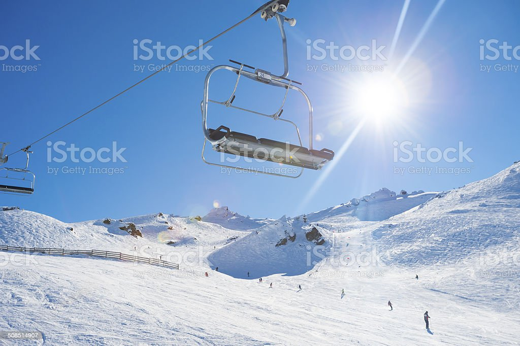 Chair Lift on a blue sky day stock photo