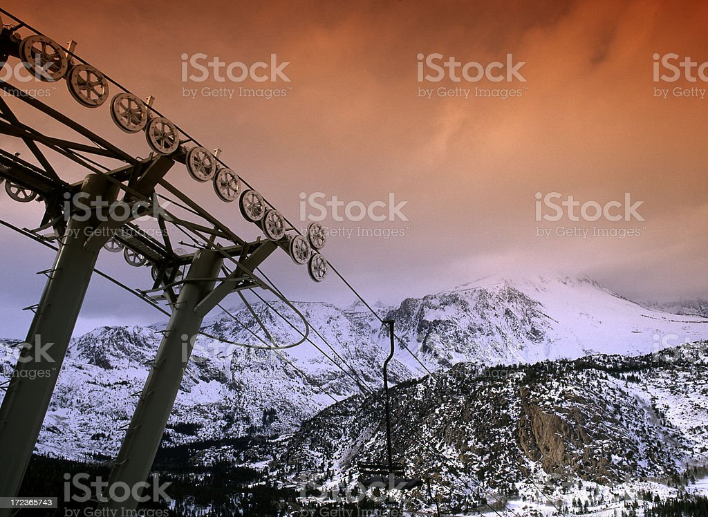Chair lift on June mountain stock photo
