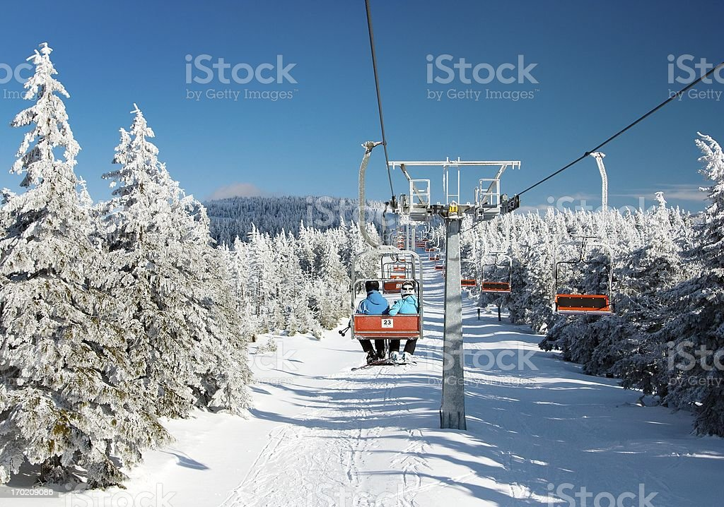 chair lift on mountain for downhill skiers royalty-free stock photo