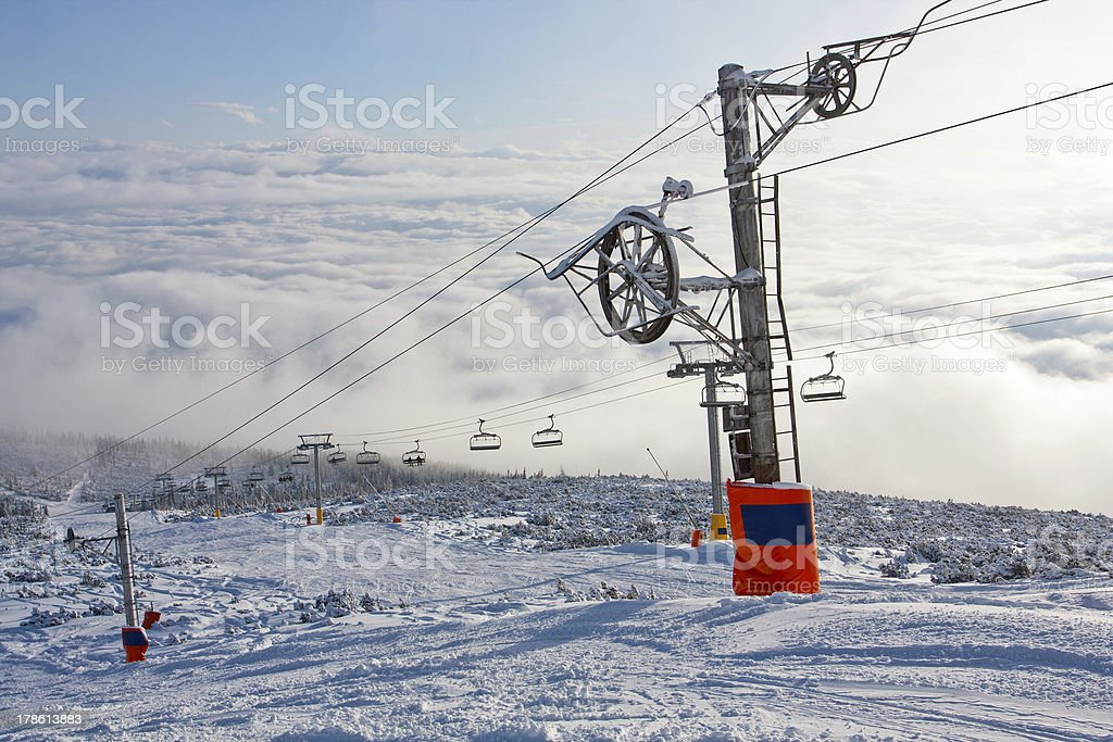Chair lift on ski resort royalty-free stock photo