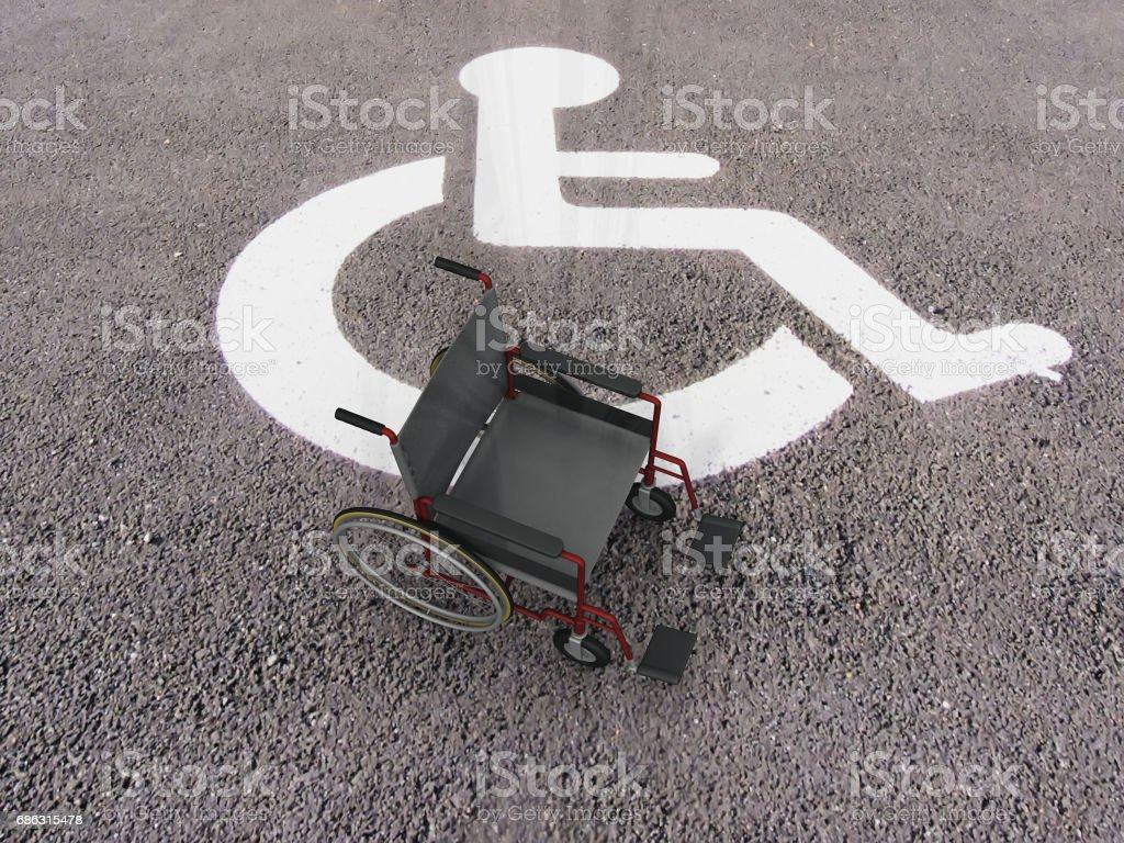 chair of a handicapped space stock photo