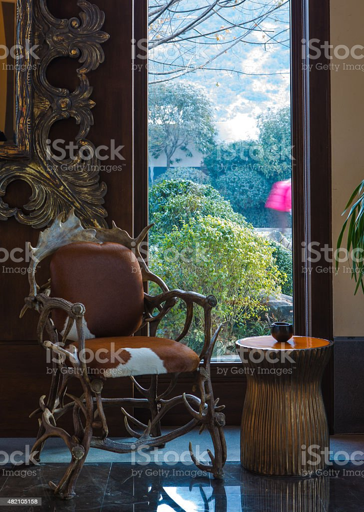 Chair of the window stock photo