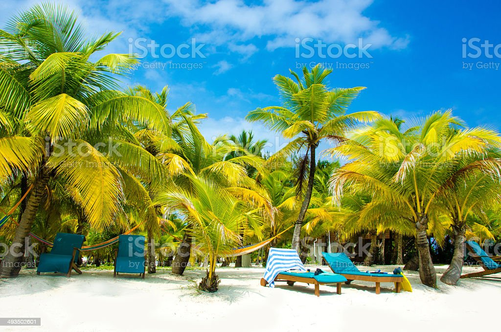 Chair on beautiful beach stock photo