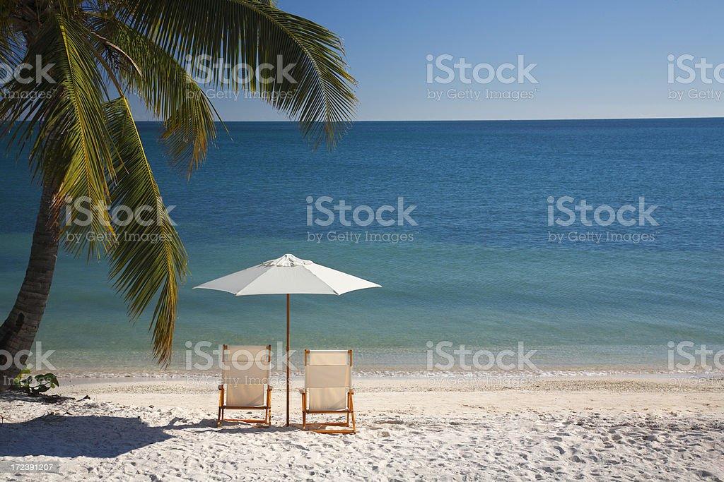 chair on Florida Keys beach royalty-free stock photo