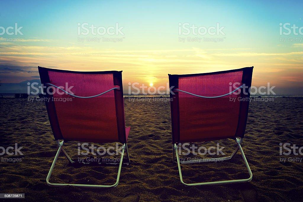 Chair on the beach stock photo