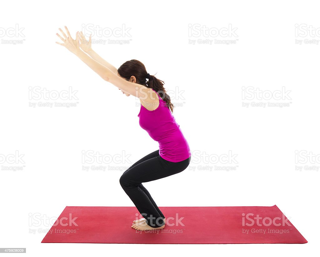 Chair or Powerful Pose in Yoga stock photo