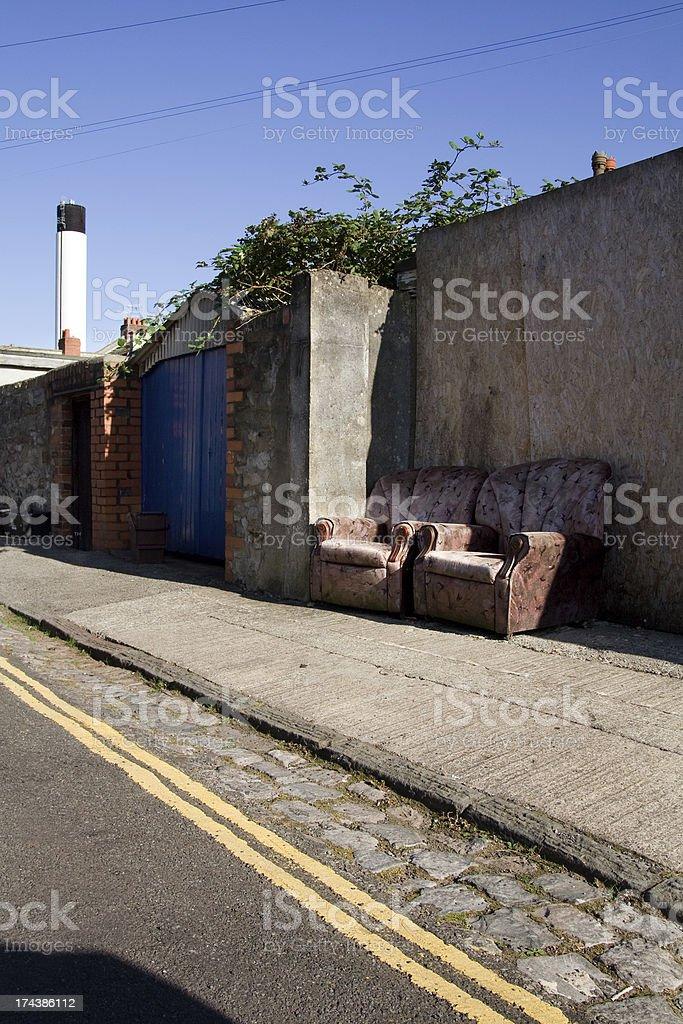 chair street rubbish litter stock photo