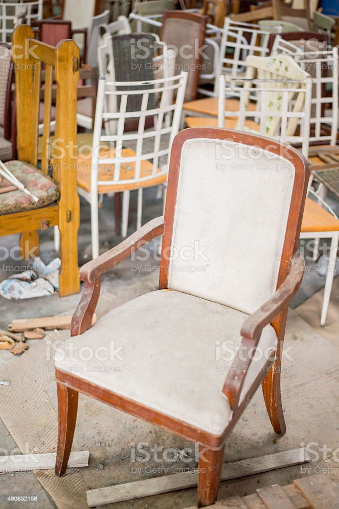 Chair tomb stock photo