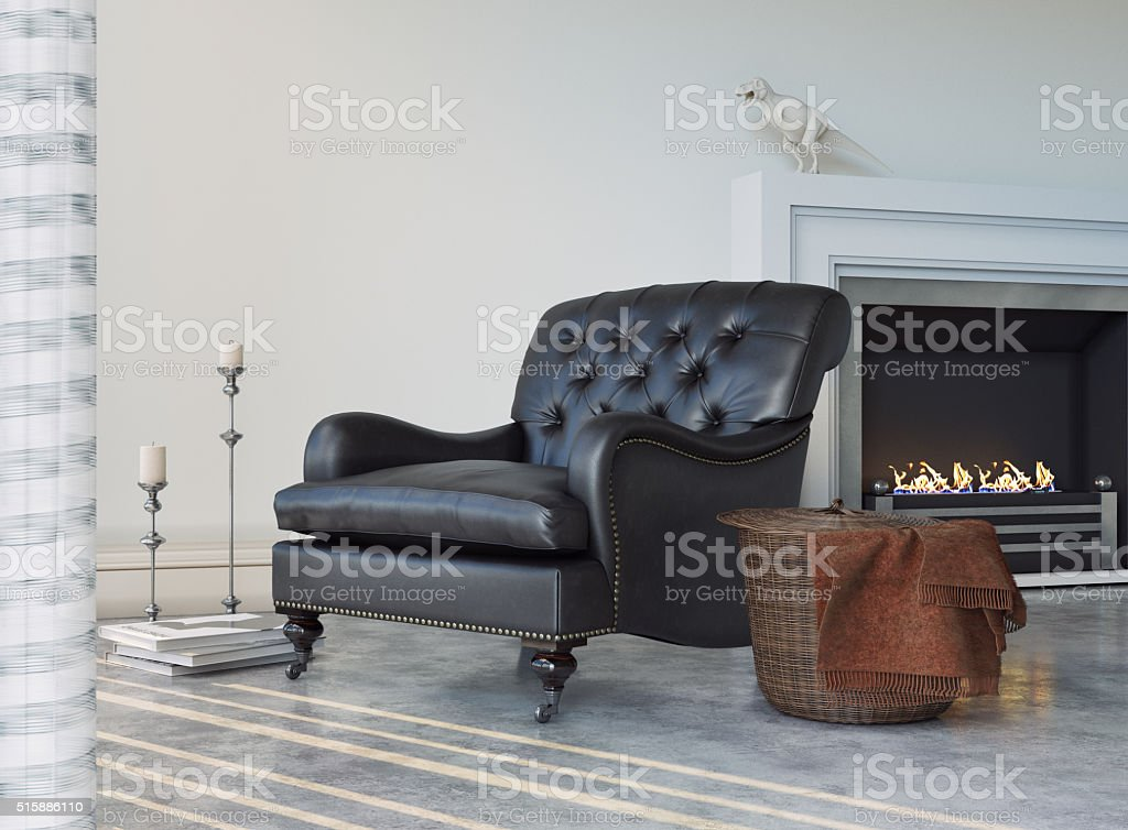 Chair with Fire Place stock photo