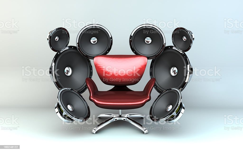 A chair with speakers for surround sound stock photo