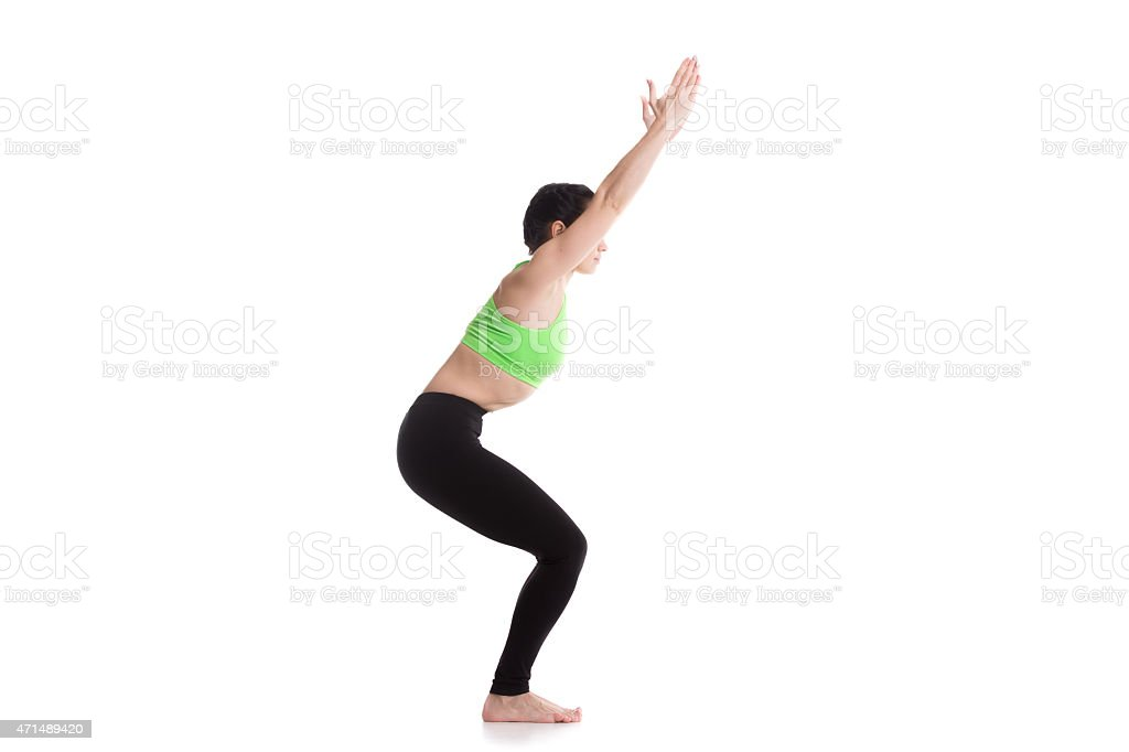 Chair yoga Pose stock photo