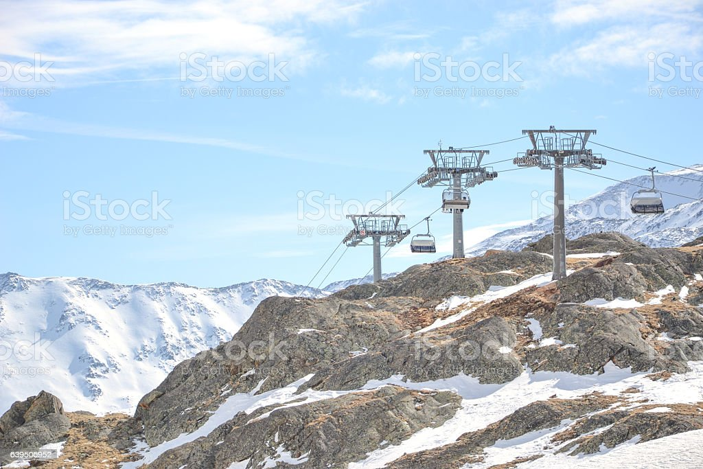chairlift at the peak stock photo