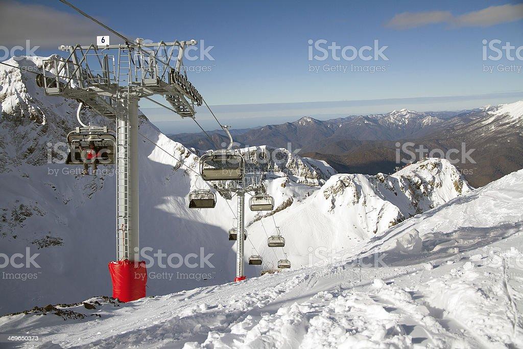 Chairlift in a ski resort Krasnaya Polyana. Sochi, Russia royalty-free stock photo