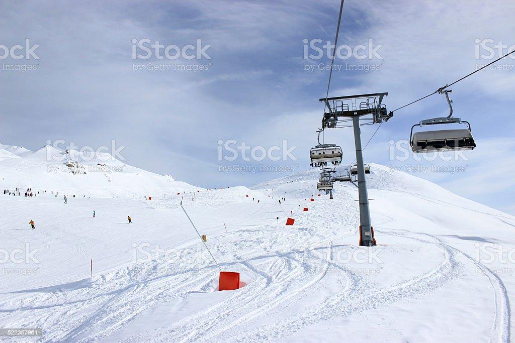 Chairlift in Alps, Zillertal in Austria stock photo