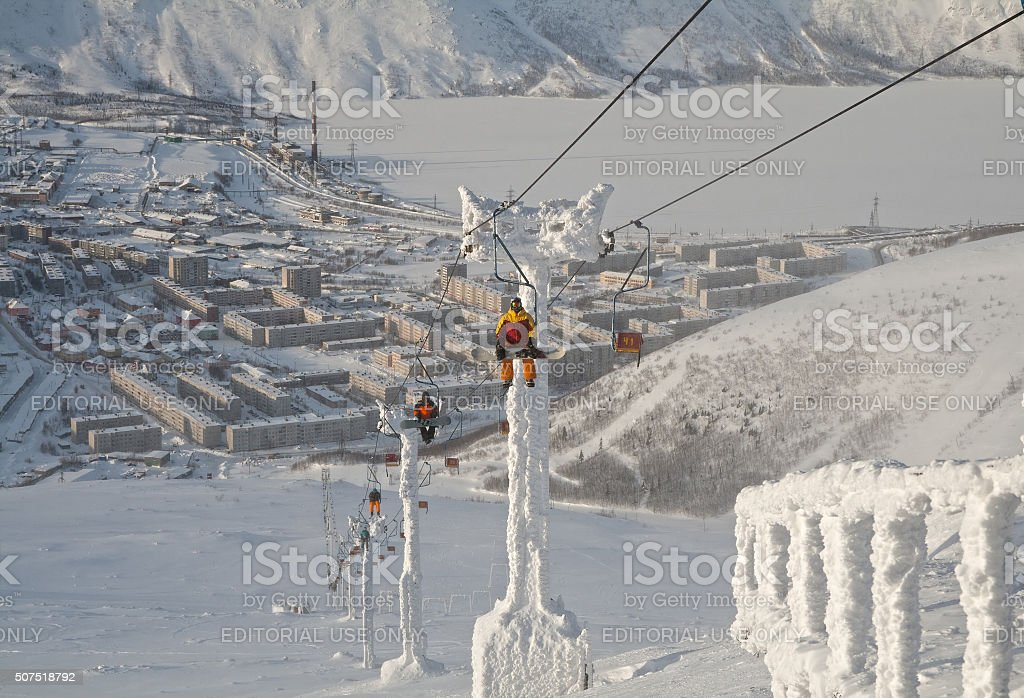 Chairlift in Kirovsk, Russia stock photo
