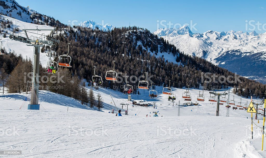 Chairlift in Pila stock photo