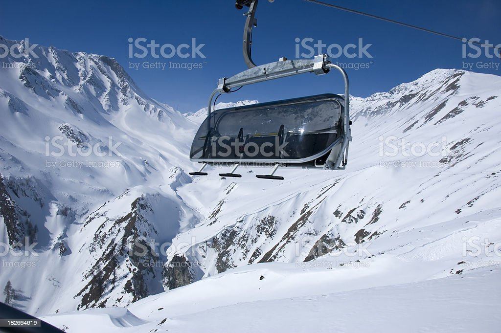 chairlift in Serfaus Austria stock photo