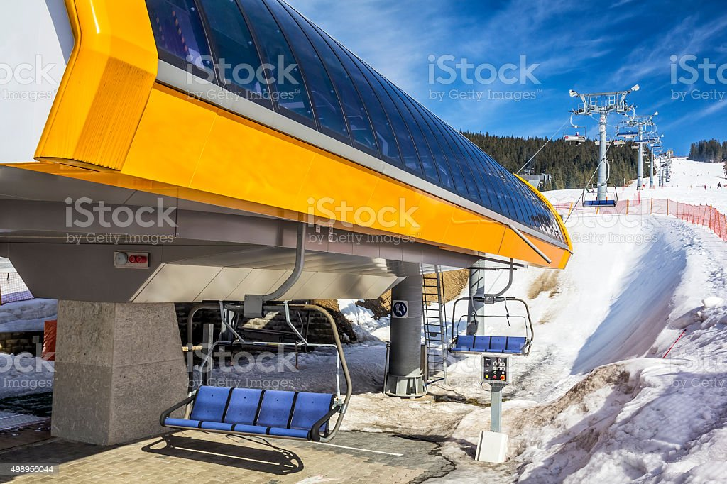 Chairlift in the Tatra Mountains, Poland stock photo